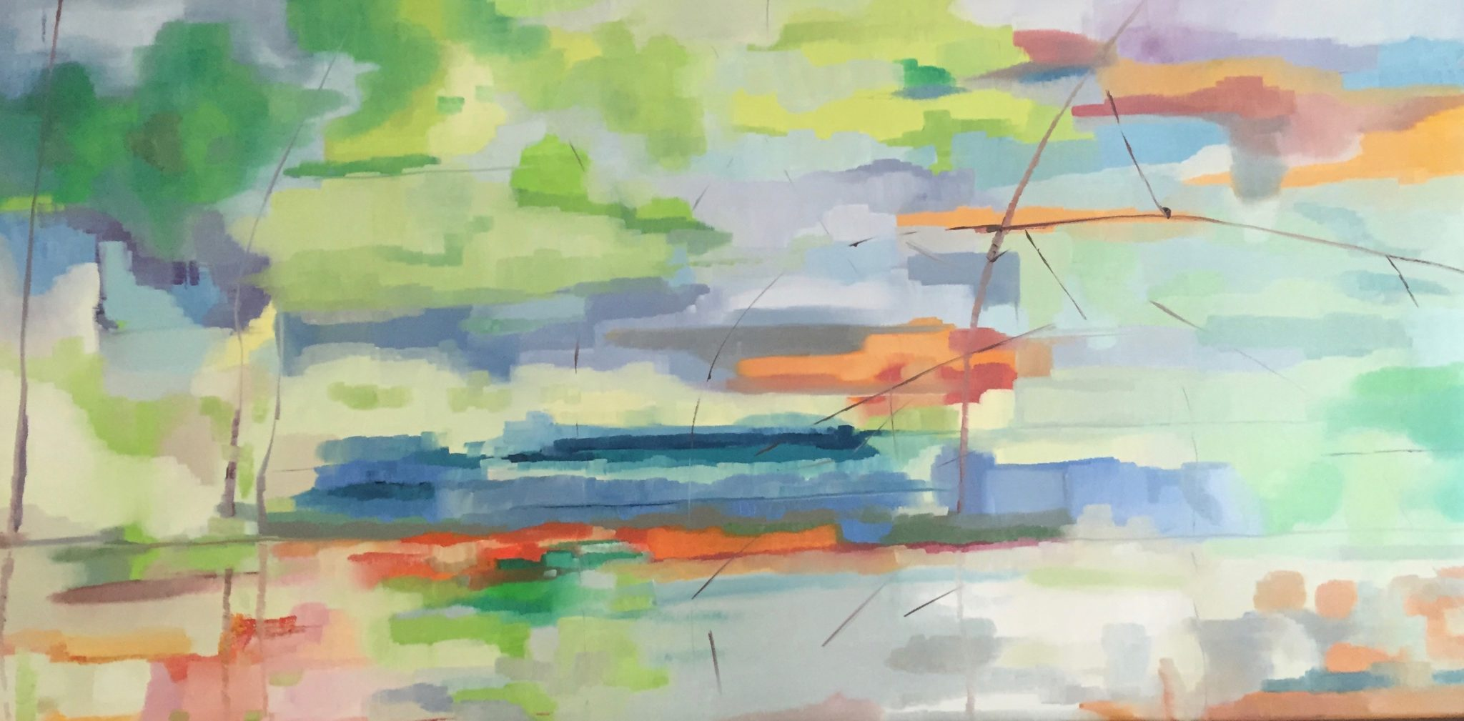 Reflections 2: Reflections on the river Loup, 120cm x 60cm