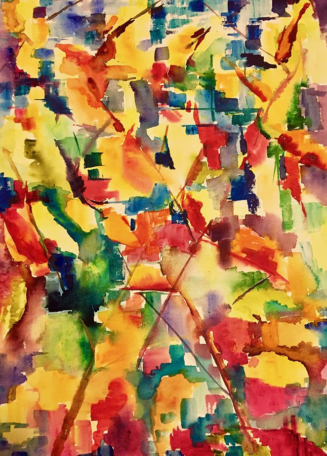 Smoke leaves Marsten. Water colour on 640 gms Arches 57 x 76 cm