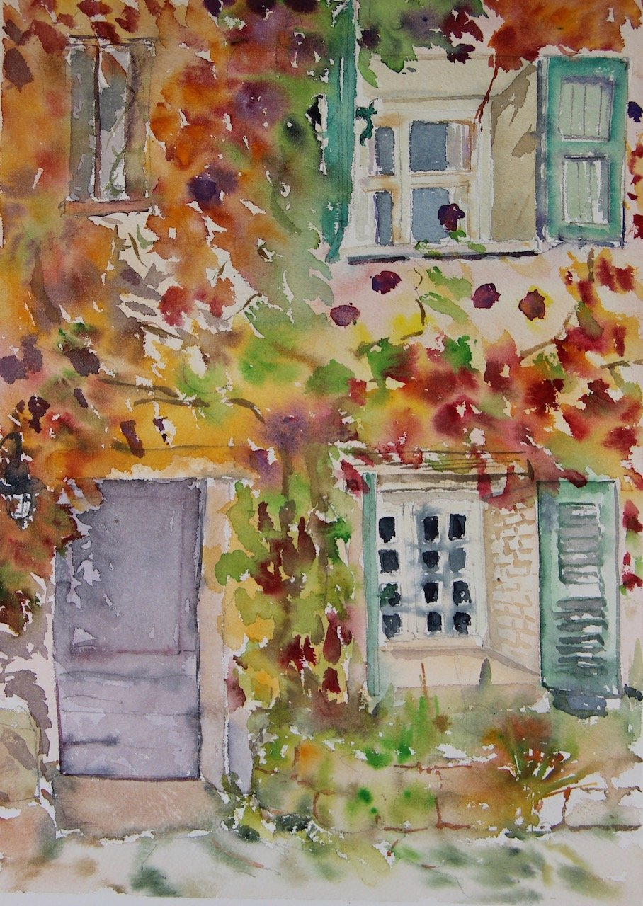 747 in Autumn<br />Watercolour on Arches 640 gms<br />36 cm x 26 cm