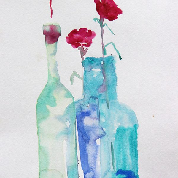 Carnations in green glass 300 gms 36x26