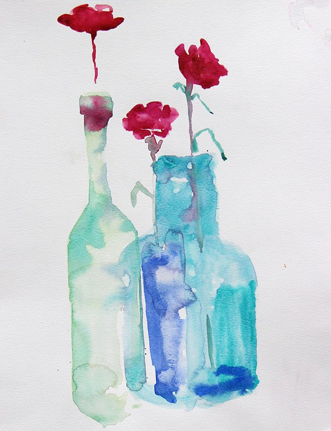 Carnations in green glass<br />Watercolour on Arches 300 gms<br />36 cm x 26 cm