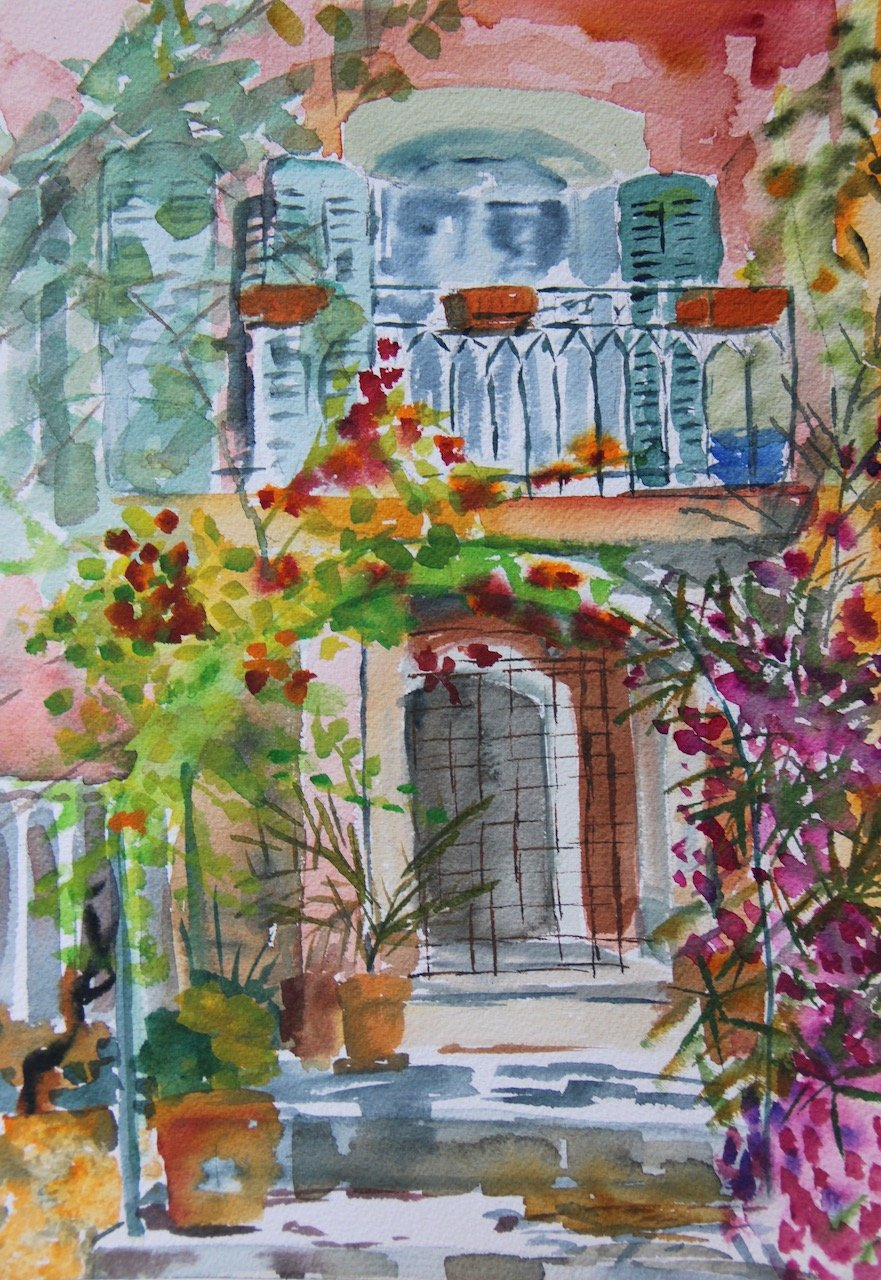 Pink House Lorgues<br />Watercolour on Arches 300 gms<br />36 cm x 21 cm