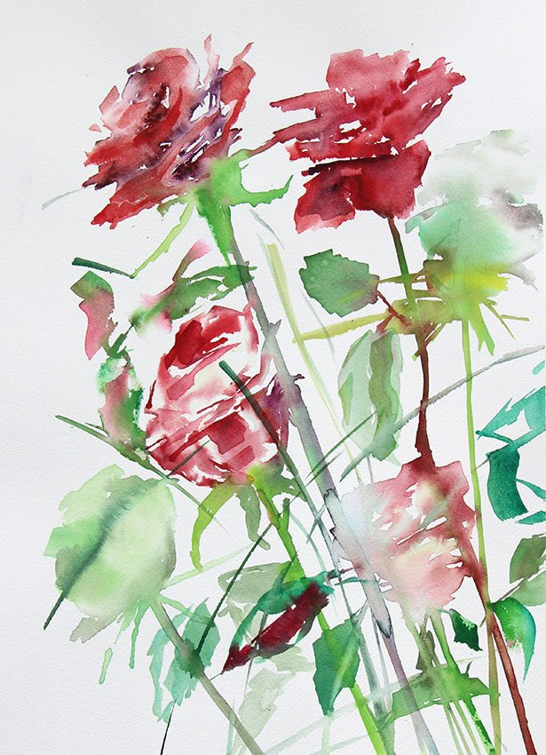 Roses for my Valentine <br />Watercolour on Arches 300 gms<br />46 cm x 36 cm