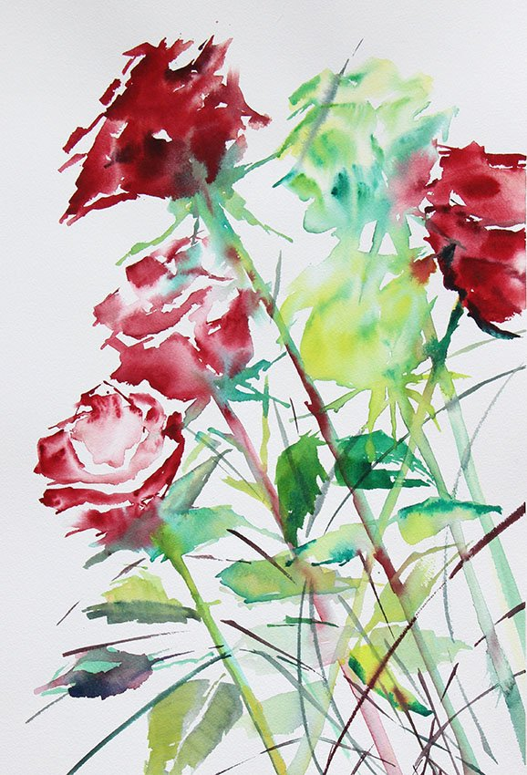 Roses for you<br />Watercolour on Arches 300 gms<br />46 cm x 36 cm