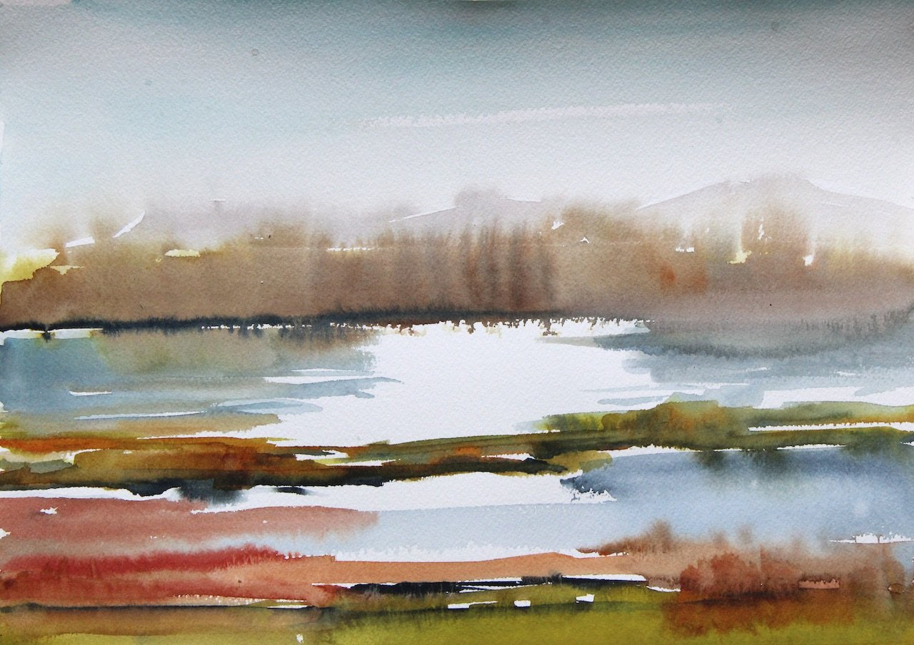 Route de Sel Hyeres<br />Watercolour on Archers 300 gms<br />31 cm x 41 cm