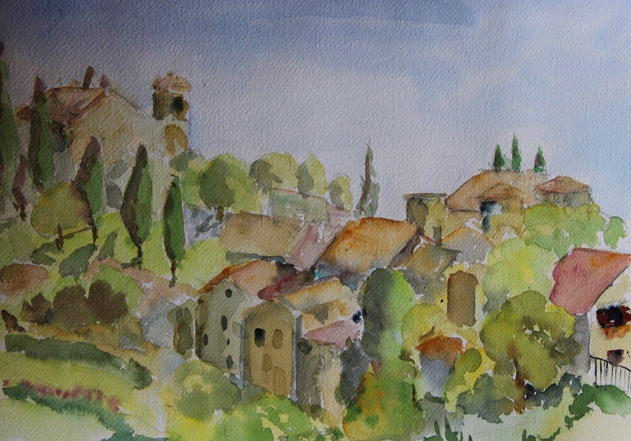Tourtour<br />Watercolour on Arches 300 gms<br />26 cm x 36 cm