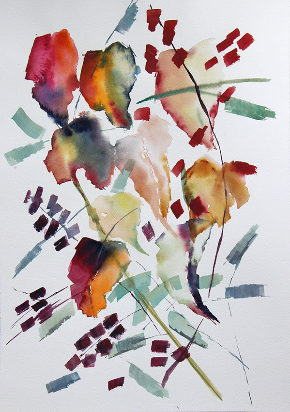 Vine abstractrion <br />Watercolour on Arches 300 gms<br />46 cm x 36 cm