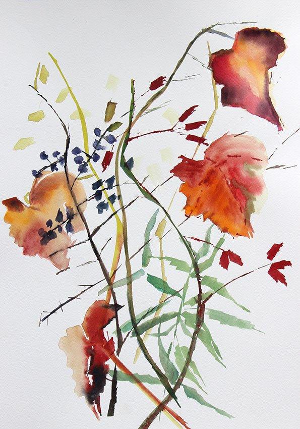 Vines in November<br />Water colour on Arches 300 gms<br />46 cm x 36 cm