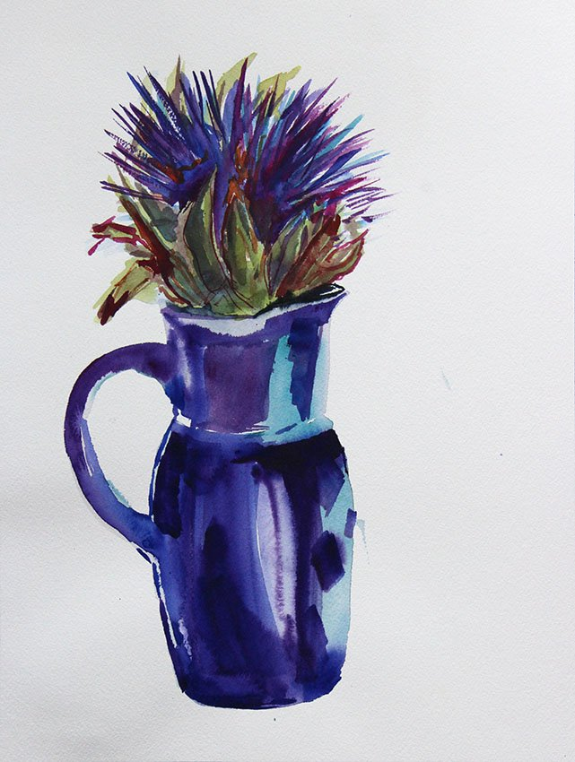 Artichoke in blue pot <br />Watercolour on Arches 300 gms<br />36 cm x 26 cm