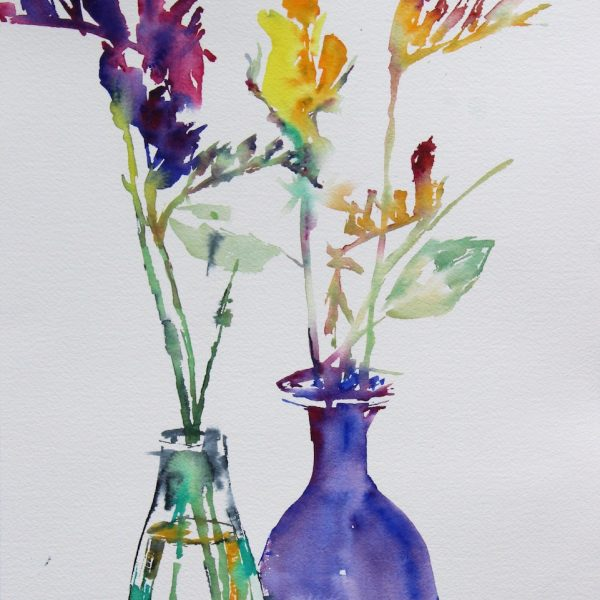 glass vases and freesia's Arches 300grms 41x31