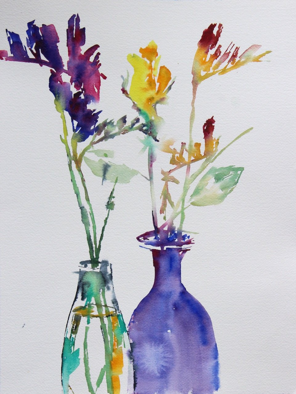 Glass vases and freesias<br />Water colour on 300 gms<br />Arches 41 cm x 31 cm